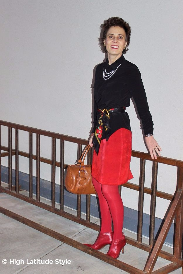 midlife style blogger in office outfit with silk blouse