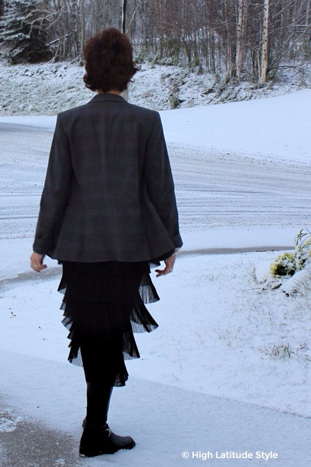 #fashionover40 Alaskan woman in winter work outfit with classic equestrian boots