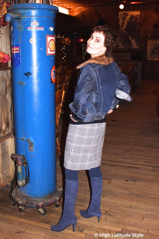 50+ woman in chic hounds tooth skirt with jean jacket