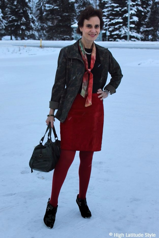 #maturestyle woman in red and olive outfit