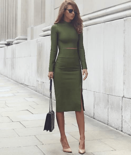 #KissMissie Amie green two-piece long sleeve bandage dress