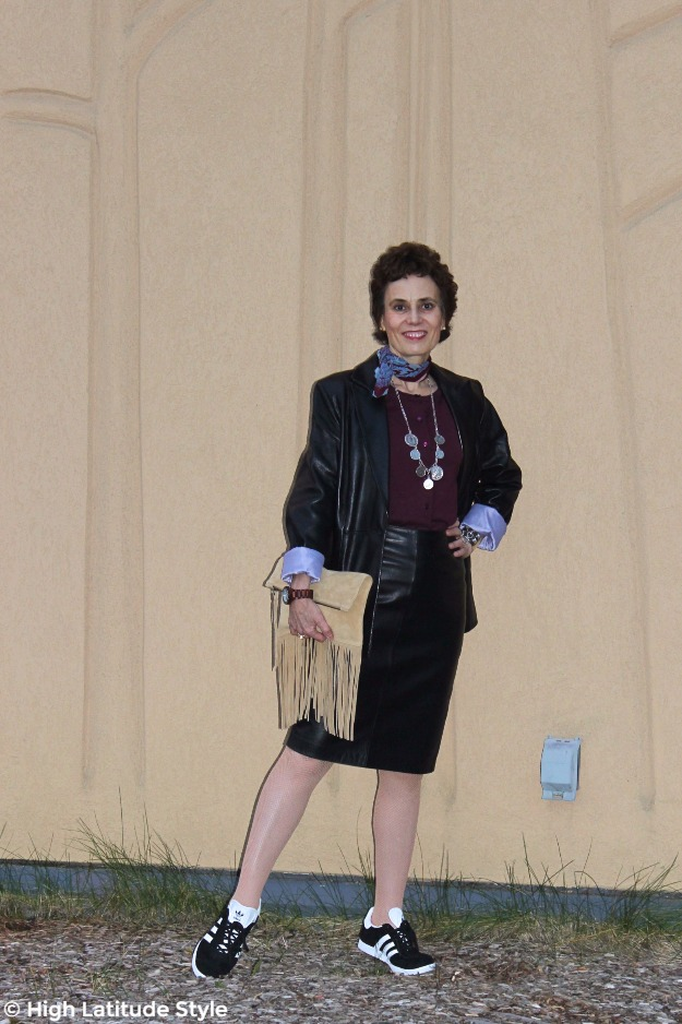 midlife style blogger looking chic in leather skirt and blazer
