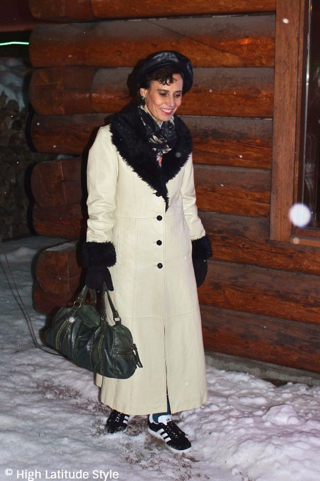 mature style blogger in chic winter look and leather beret