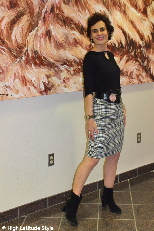#midlifestyle #maturefashion woman in work outfit with hounds tooth skirt