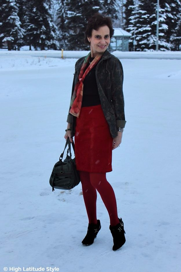 #streetstyle midlife style blogger in work appropriate ankle boots with red skirt and olive top
