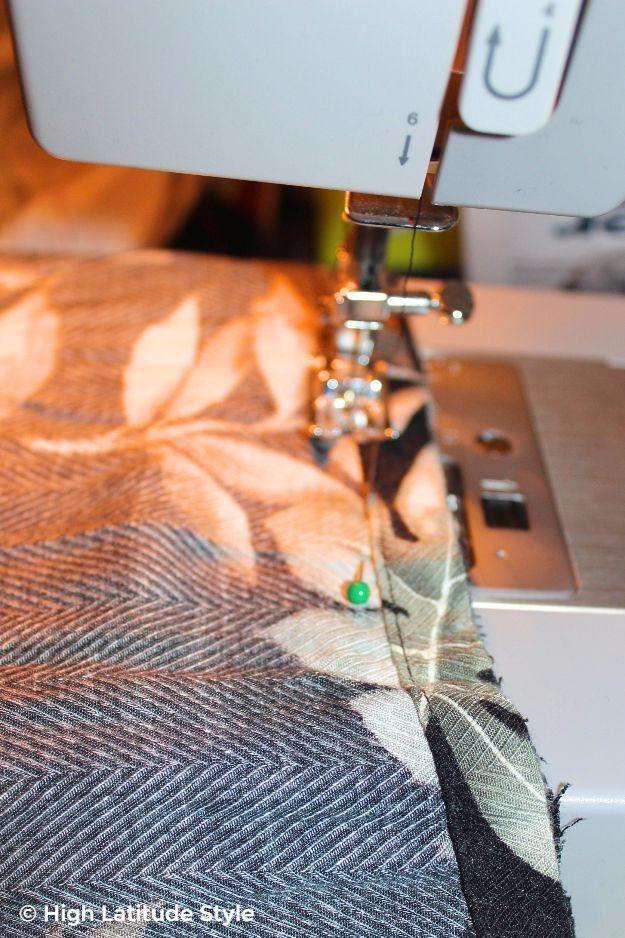 sewing along the hem