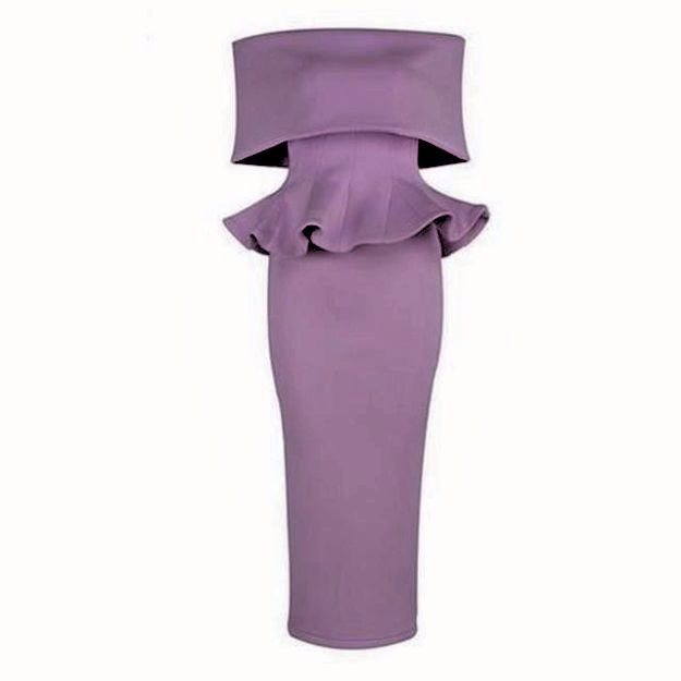 #KissMissie short sleeve slash neck off the shoulder sexy ruffles dress in lavender