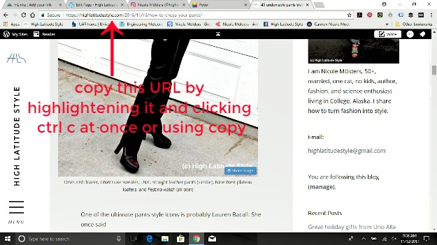where to find the URL of your blog post