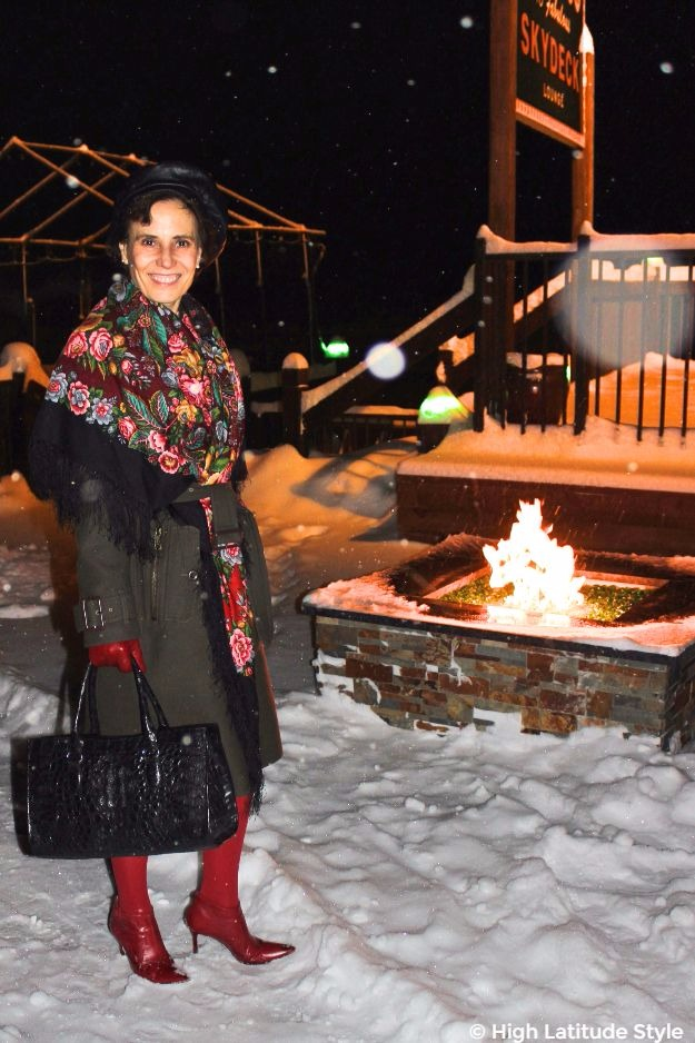 mature woman in cool styled winter outerwear
