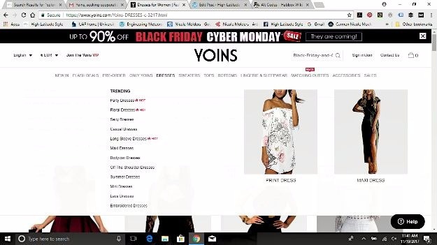 Screenshot of Yoins dress categories