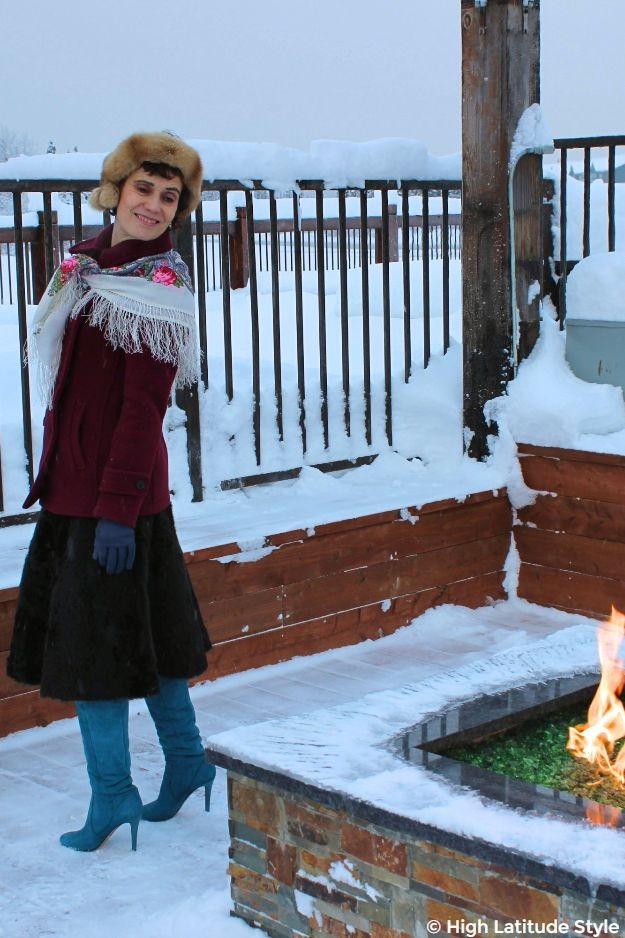 #styleover50 woman in chic winter look with jacket and trendy skirt