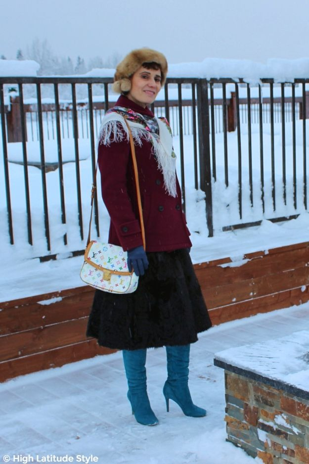 midlife style book author in posh winter look with LV Murakami bag and Pavlova scarf