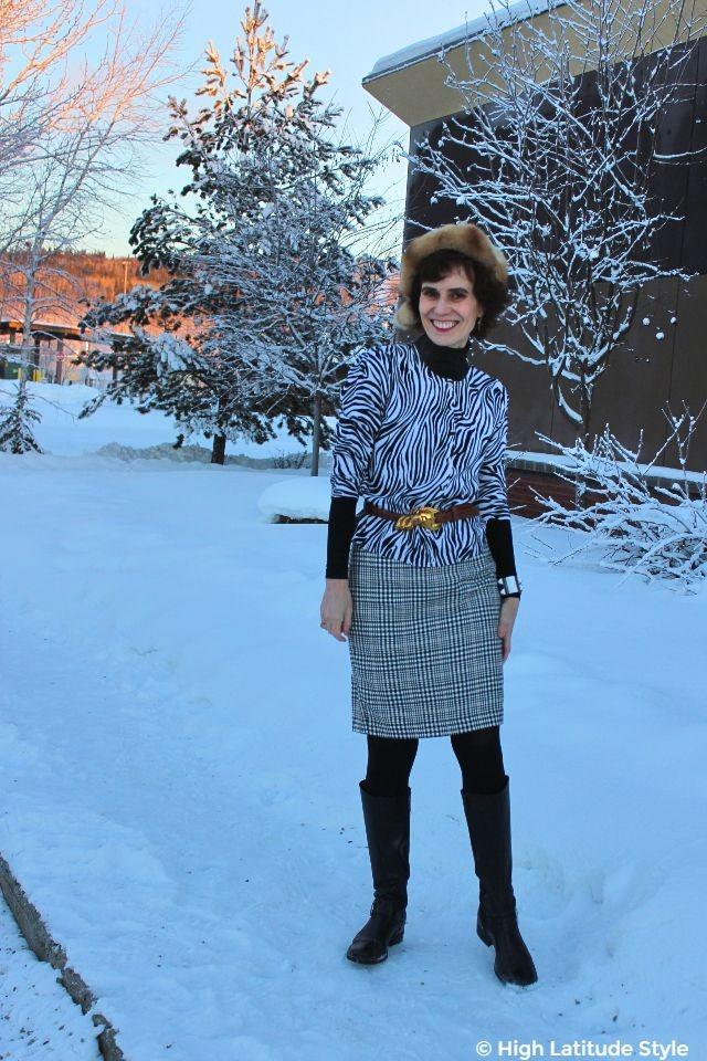 #fashionover50 Alaskan woman in all neutral colors winter work outfit