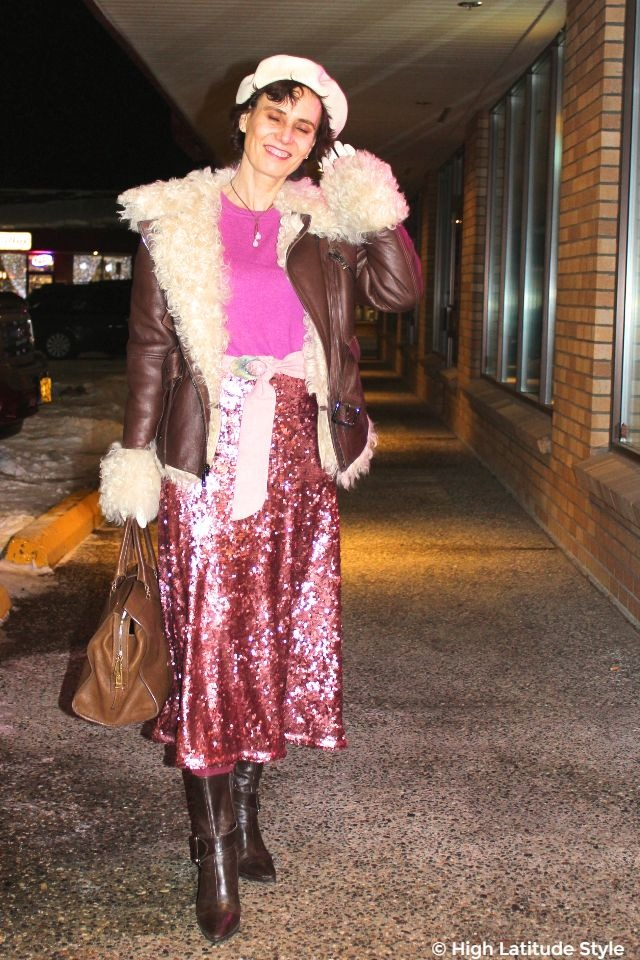 #advancedfashion style blogger in most current trends of motorcycle jacket with sequin skirt