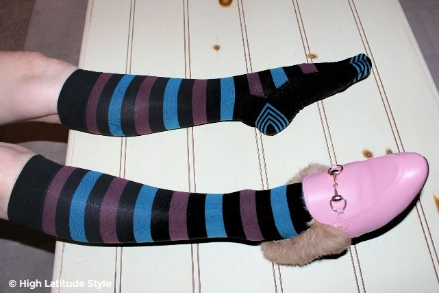 #fashiontrends striped Tommy John socks with y-heel technique