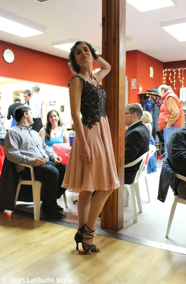 #Fashionover50 Alaskan woman at a social dance at the Pioneer Park Dance Hall