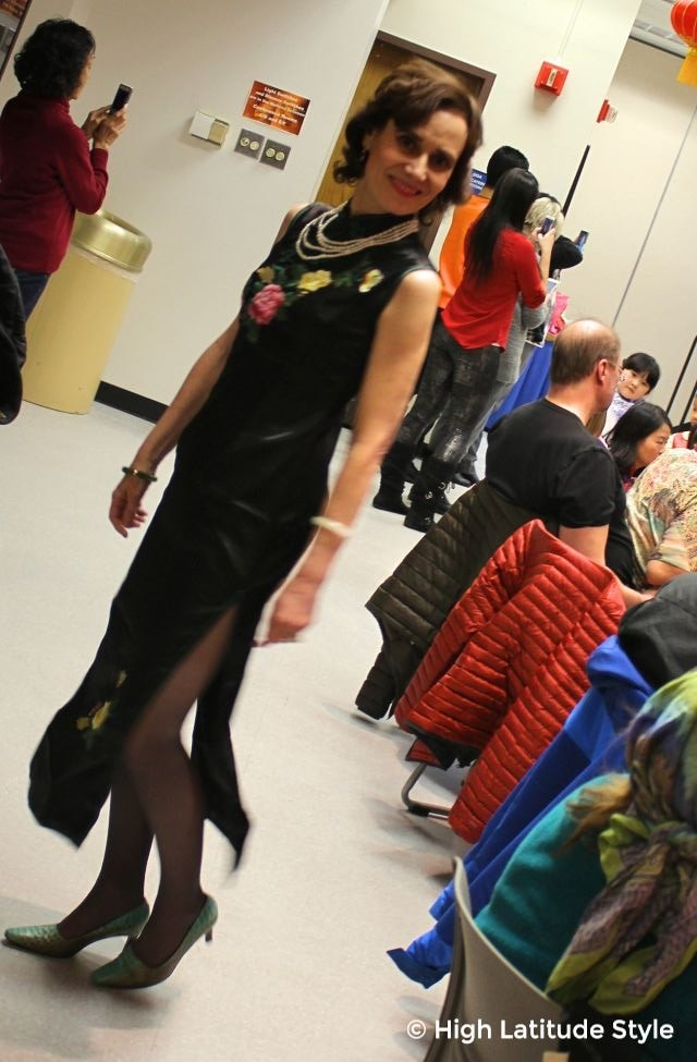 #styleover50 woman in embroidered LBD