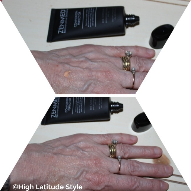 #Beautyover50 showing the balmy cream-like behavior of Zenmed makeup. Upper part: Small drop; lower part: after its distribution on the hand