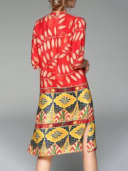 #trendsover50 A-line dress in trendy mixed print design