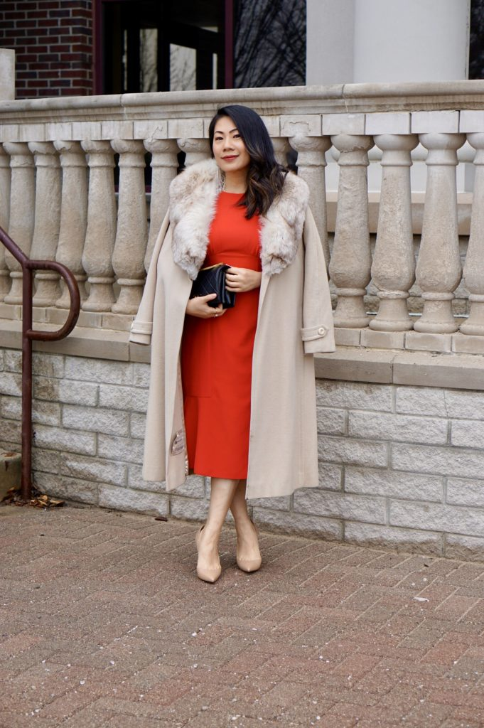 fashion blogger Grace Liang dressed for continental humid weather in a classic winter outfit