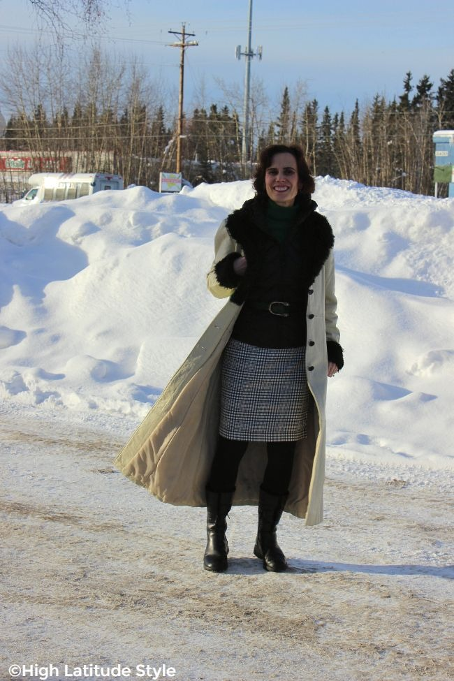 #advancedstyle Alaskan woman in March looking fresh with long maxi coat outfit