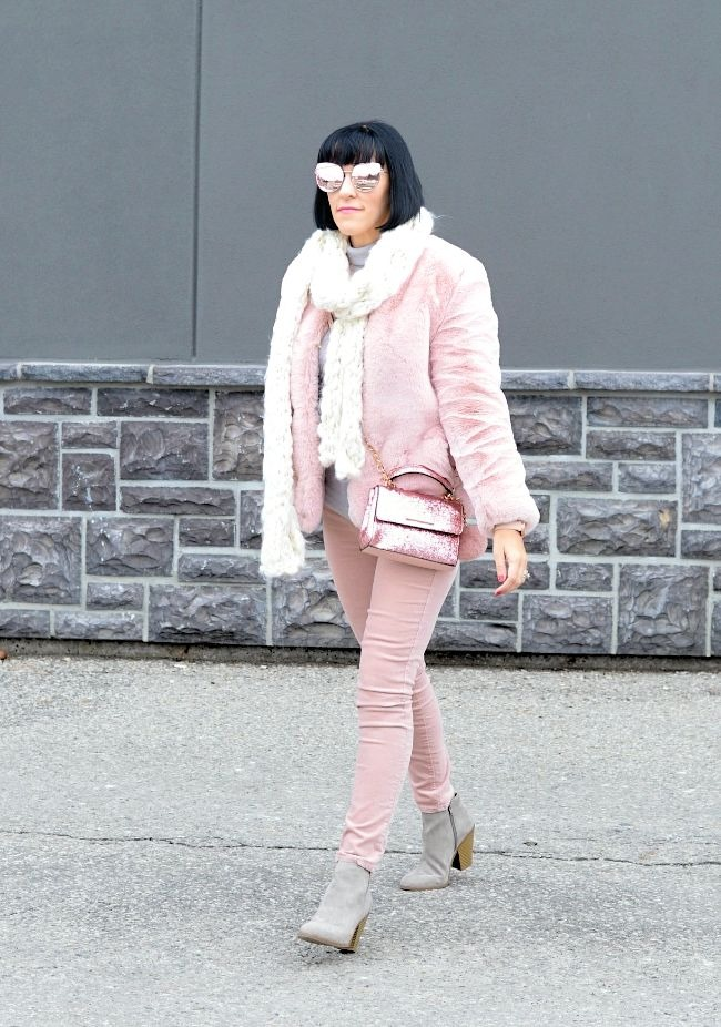 Amber of Canadian Fashionista in pastel winter outfit