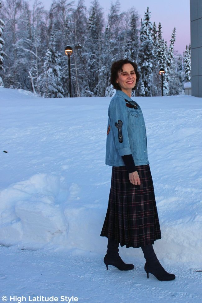 #fashionover50 woman in street chic with sequins and plaid