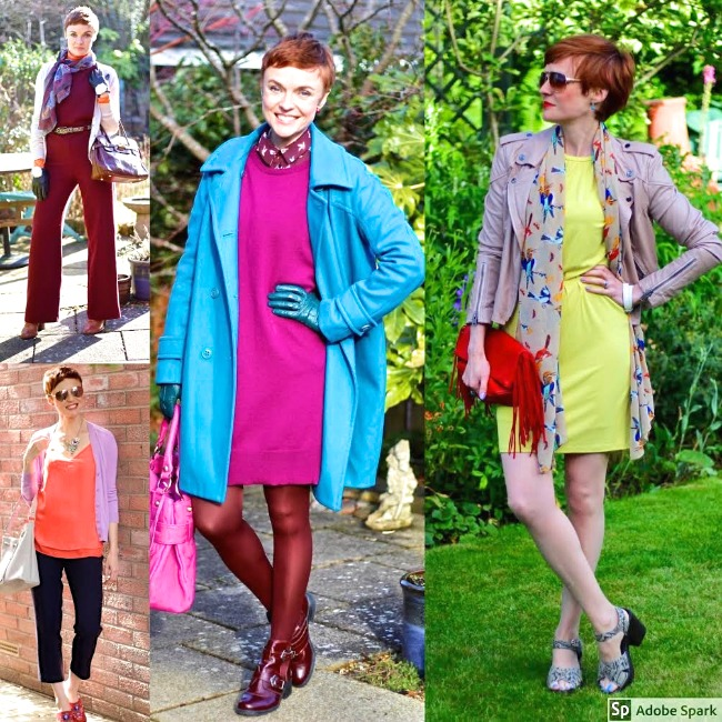 #fashionover40 #coloroutfit Collage of Samantha Blair of Fake Fabulous in multiple fashion colors in each outfit