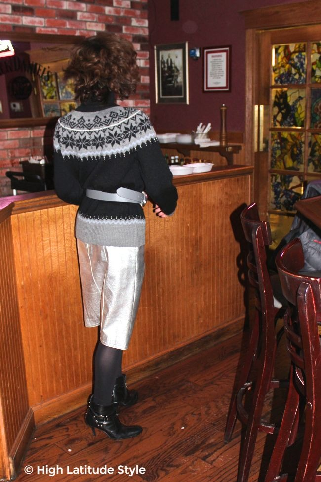 #midlifestyle woman in silver skirt with Fair Isle sweater