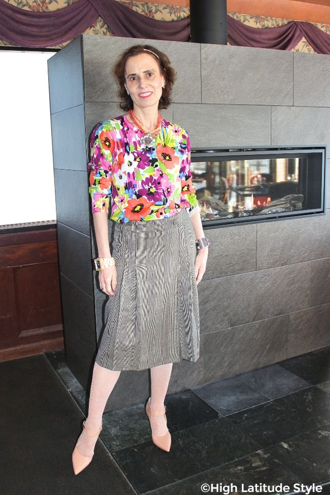fashion blogger over 50 wearing floral print and glen check in one outfit for Mother's Day