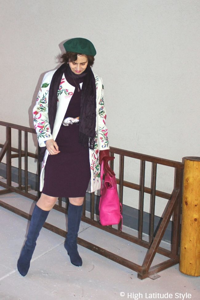 #fashionover50 #midlife woman in embroidered coat over dress