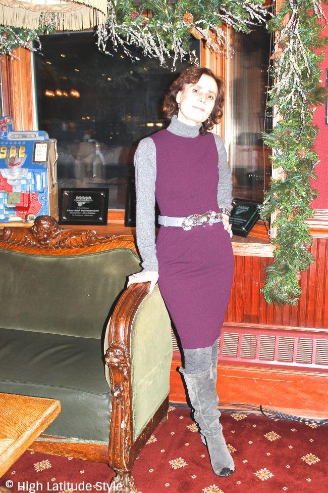#fashionover50 lady in burgundy gray work attire