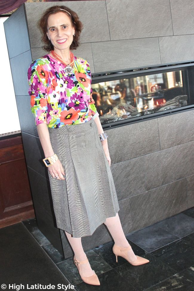 #fashionover50 midlife lady in mixed pattern of glen check and floral print for Mother's day