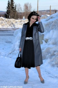 #fashionover50 mature woman with specs in her hair, trench coat, shirt dress office look