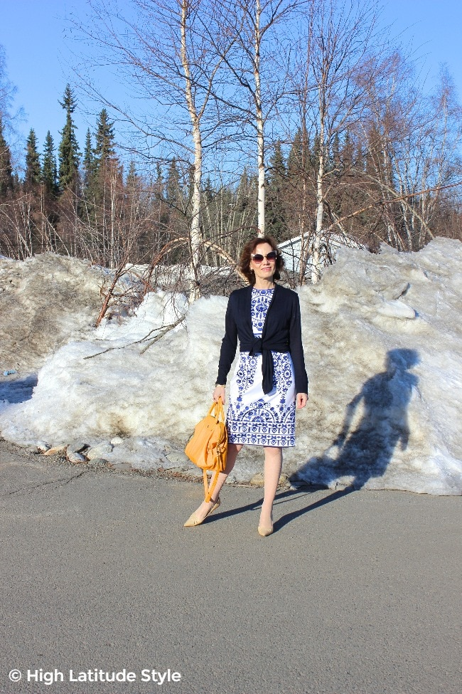 #midlifefashion midlife women looking professional in a tailored dress, cardigan and pumps
