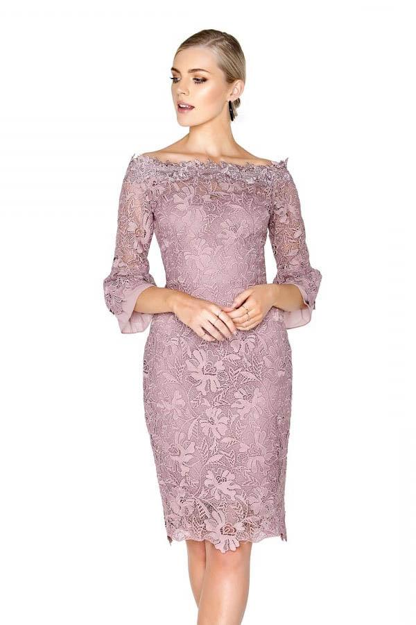 #angrila_dress Lavender lace 3/4 sleeve above the knee mother of the bride dress