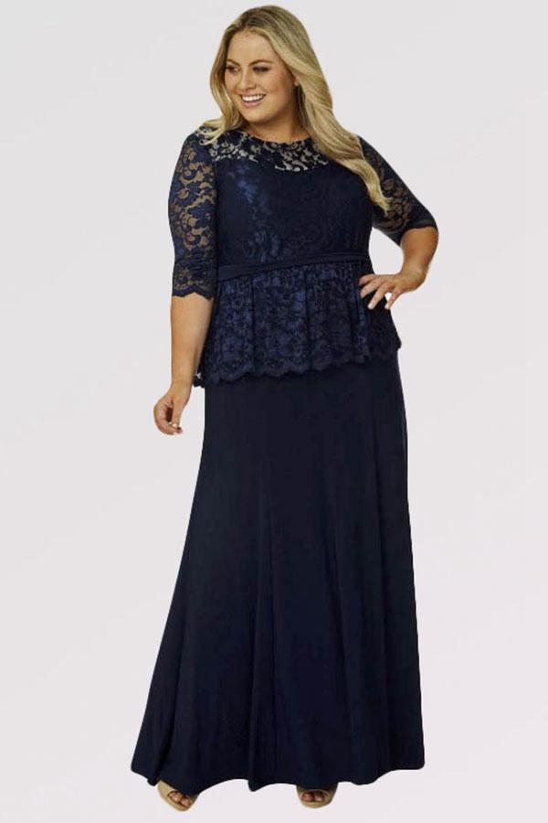 #motherofthebride #angrila_dress navy blue mother of the bride dress with lace