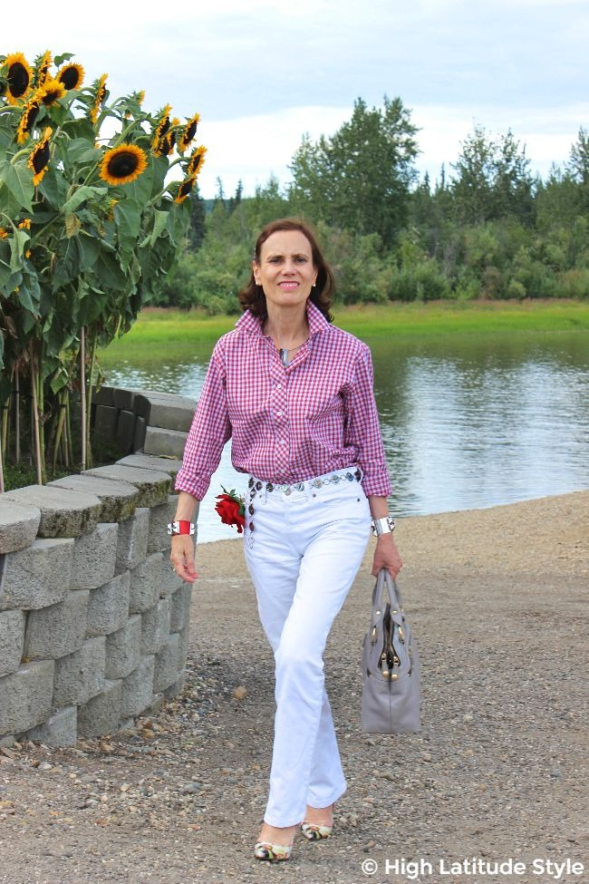 #advancedfashion midlife woman looking posh casual in white bf and a gingham shirt