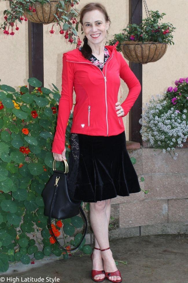 dress with floral top velvet bottom, ankle strap sandals, athleisure jacket