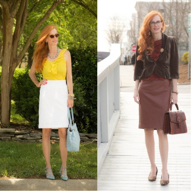 #fashionover40 Romantic Style blogger Jessica Jamenga in warm and cold season outfits