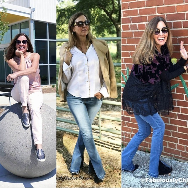 #fashionover50 Jonet Wooten in a summer, transition season and winter look