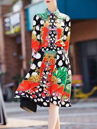 mixed pattern trend example StyleWe Tiana multicolor long sleeve statement cotton top with skirt