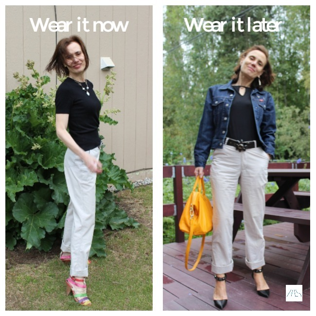 #styleover50 woman presenting chinos styled for the warm season and autumn