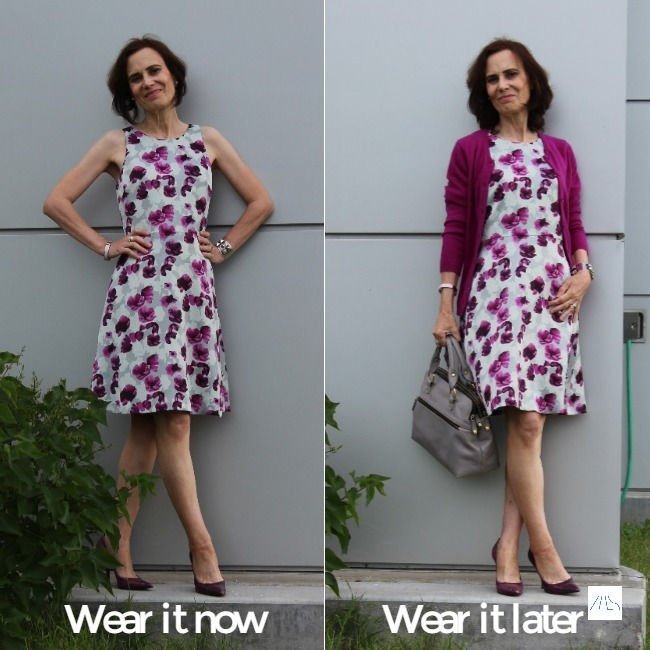 #fashionover50 woman presenting the same floral print dress once styled for summer, once for fall