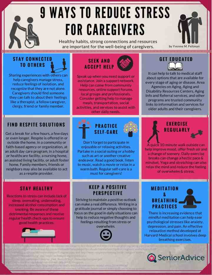 9 Ways to Reduce Stress for Caregivers Infographic