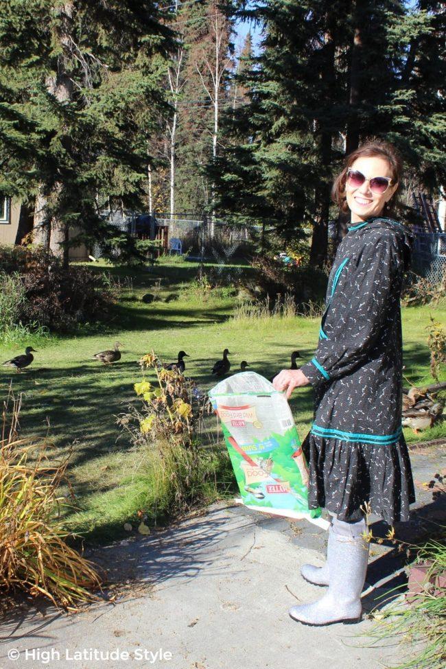 gardening fashionista in stylish natural rubber DKSUKO Rain Boots