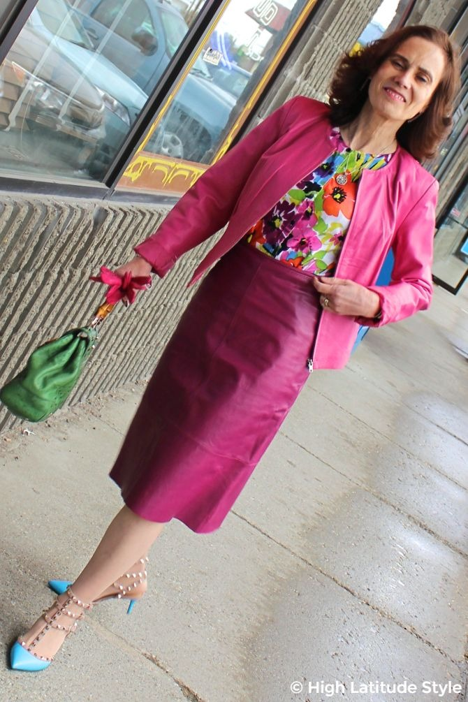 #turningfashionintostyle midlife woman wearing a colorful style over 50