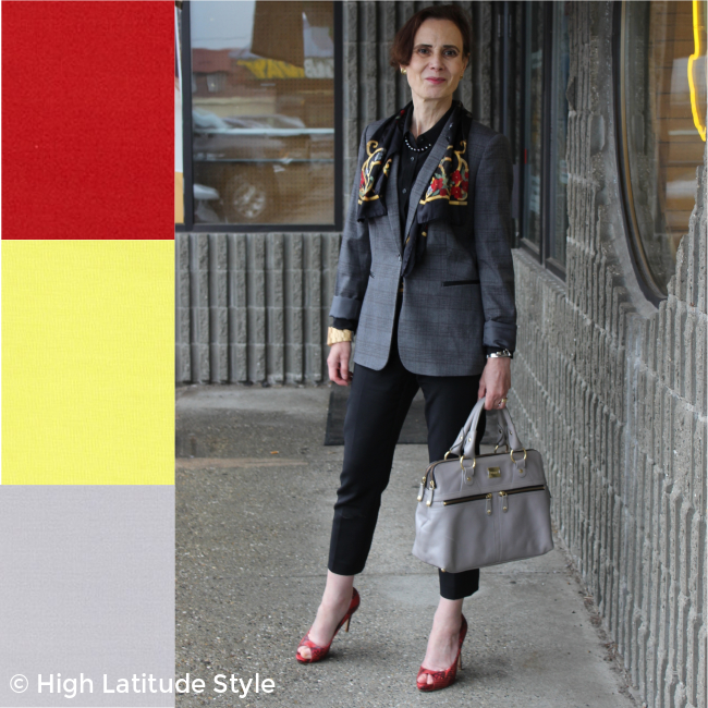 #midlifestyle woman in fake suit in valiant poppy, quiet gray, limelight, black, red-pear, styling