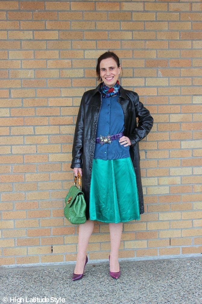 #turningfashionintostyle Nicole of High Latitude Style in a green black purple fall outfit with wide belt