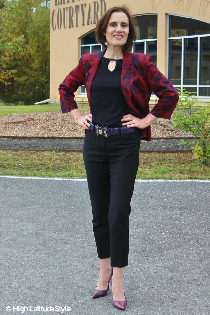 Nicole of High Latitude Style turning fashion into style with trendy trousers, T-shirt, heels and jacket